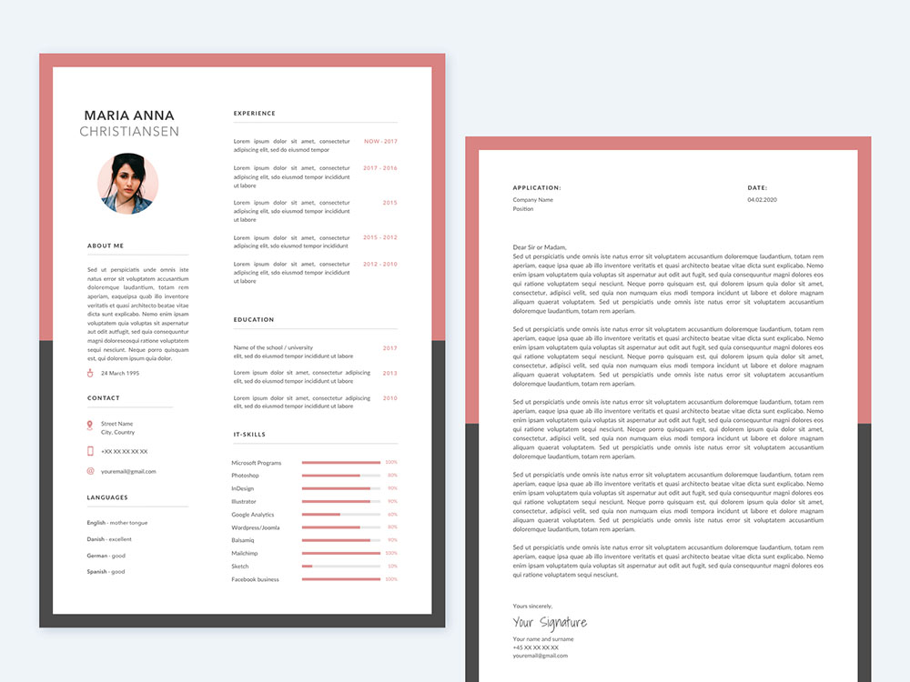 Free Sketch Resume Template with Cover Letter for Job Seeker