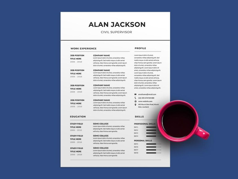 Free Civil Supervisor CV Resume Template