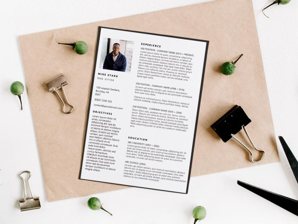 Free Dog Sitter Resume Template with Clean Look