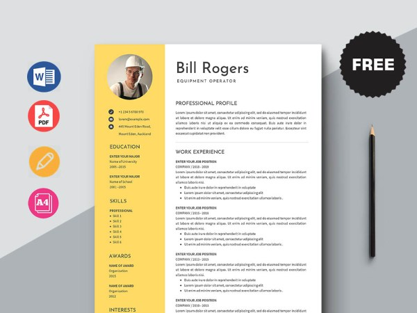 Free Equipment Operator Resume Template