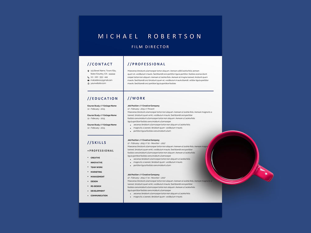 Free Film Director Resume Template with Professional Look