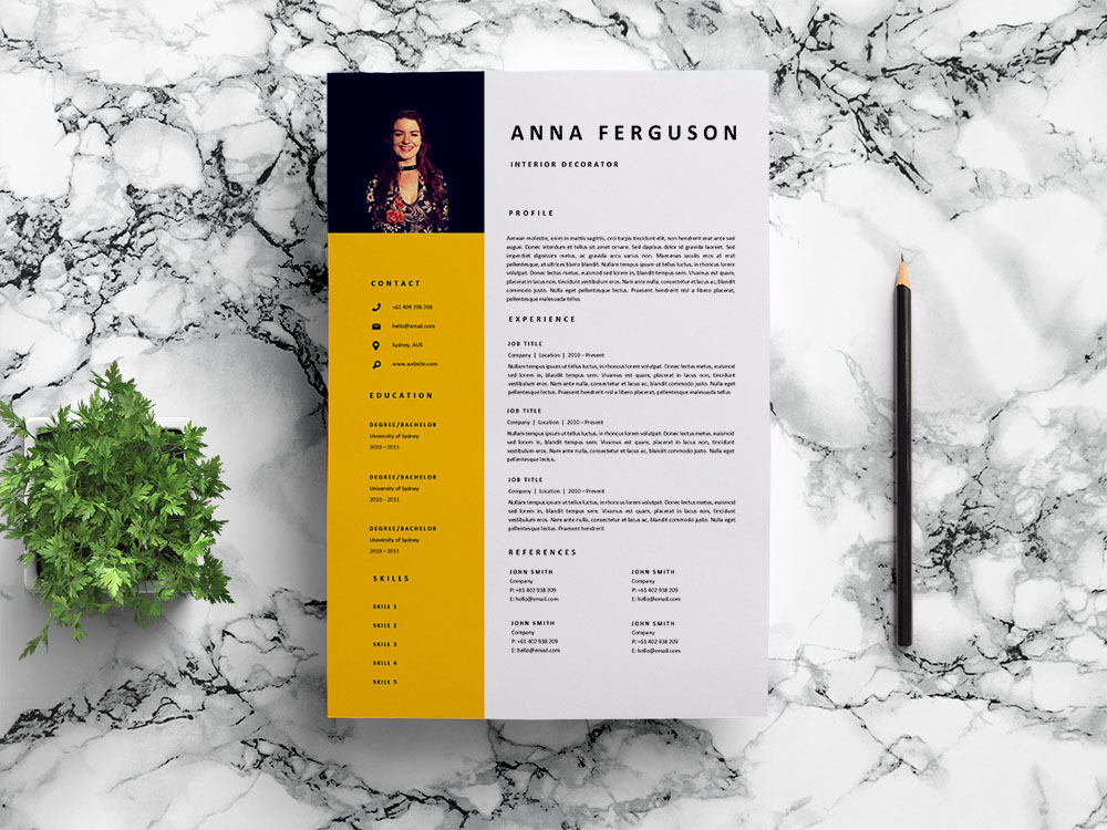 Free Interior Decorator Resume Template with Clean and Professional Look