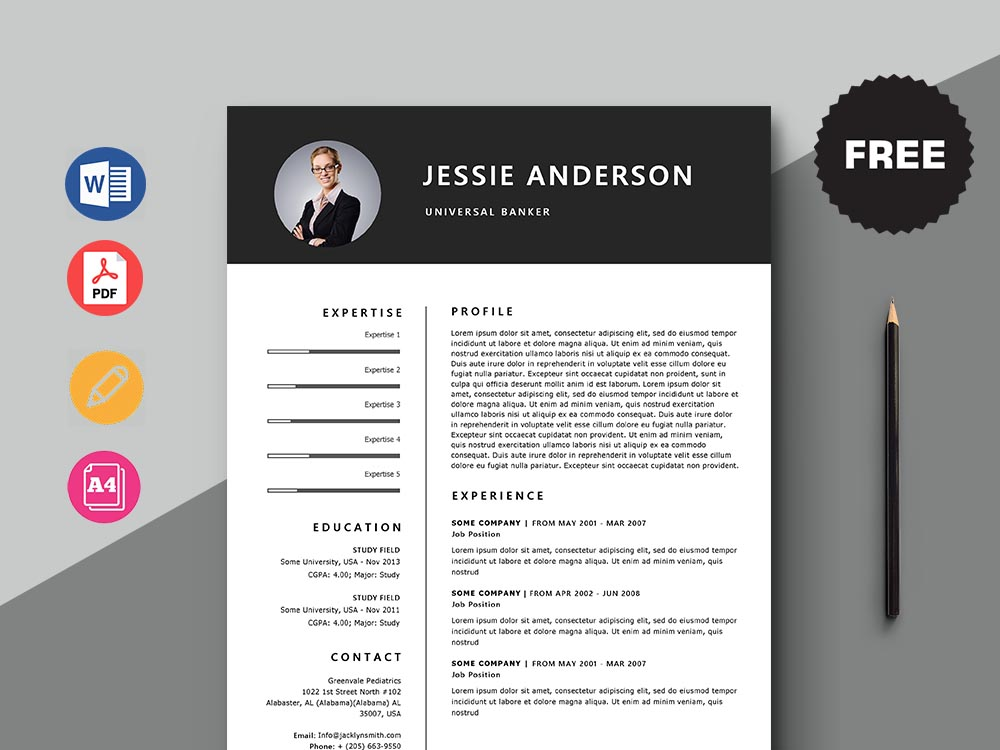 Free Universal Banker Resume Template with Minimal and Elegant Look