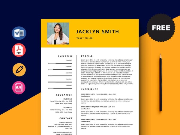 Free Vault Teller Resume Template with Minimal and Elegant Look