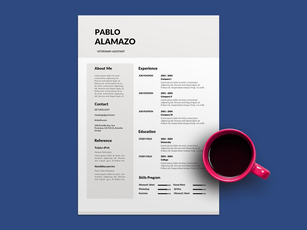 Free Veterinary Assistant Resume Template with Modern and Clean Look