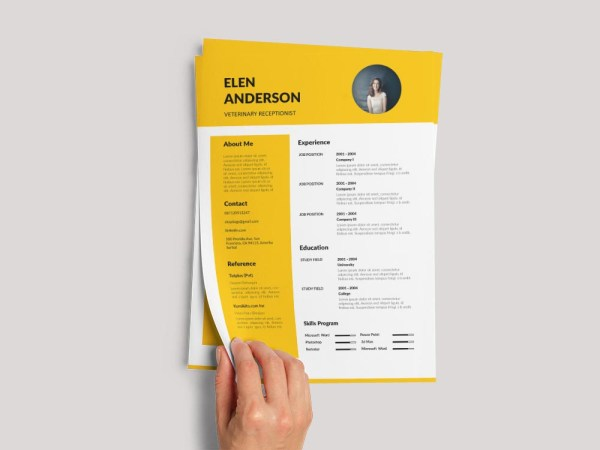 Free Veterinary Receptionist Resume Template with Clean Look