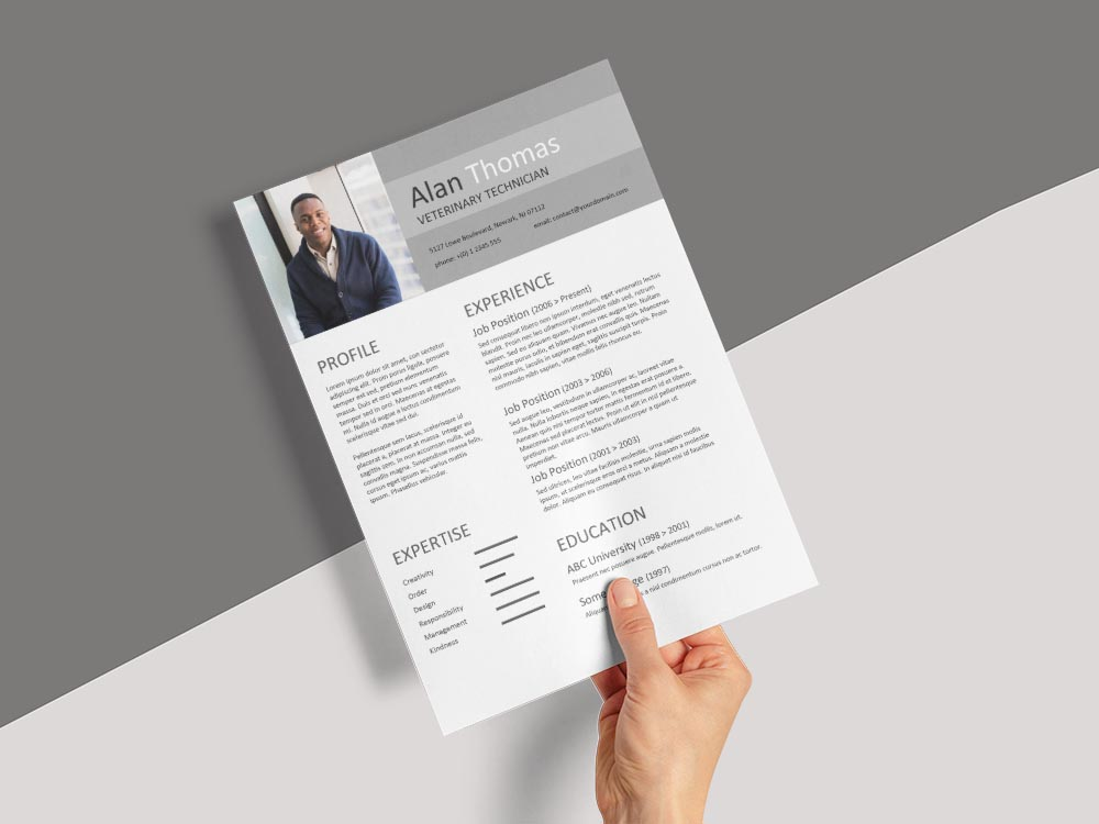 Free Veterinary Technician Resume Template with Clean Look