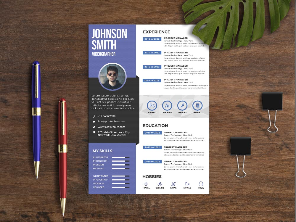 Free Videographer Resume Template with Modern and Professional Look
