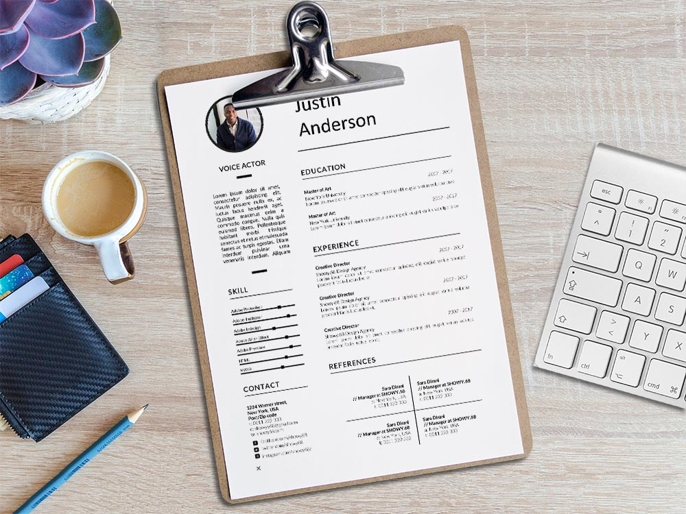 Free Voice Actor Resume Template with Professional Look
