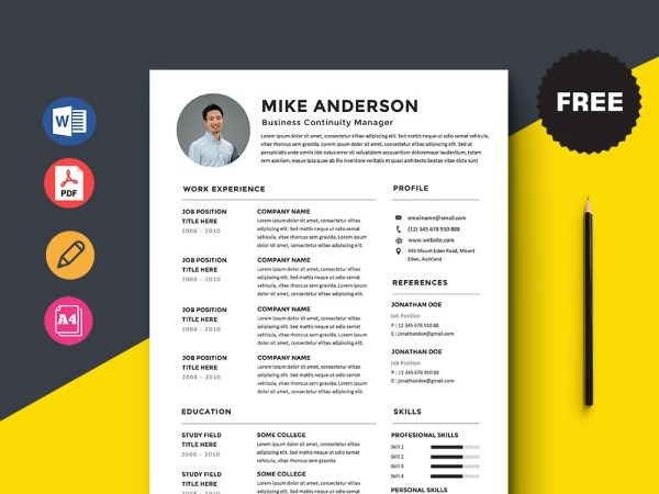 Free Business Continuity Manager Resume Template with Clean Look