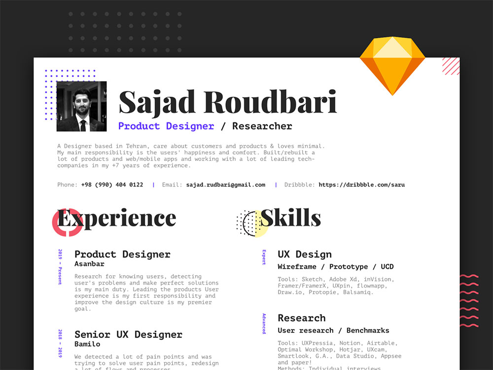 Free A4 Sketch Resume Template