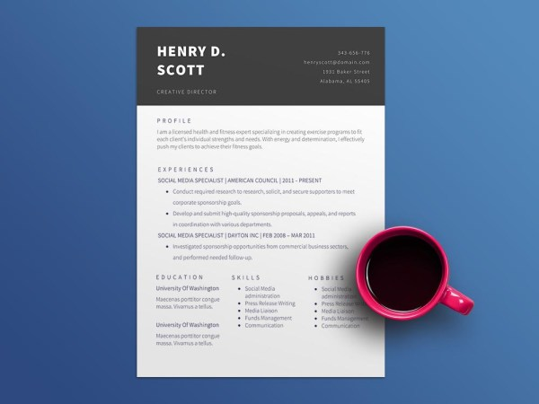 Free Creative Director CV Resume Template