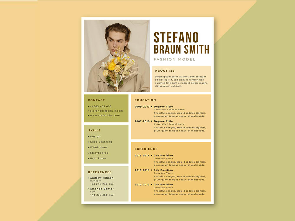 Free Fashion Model Resume Template