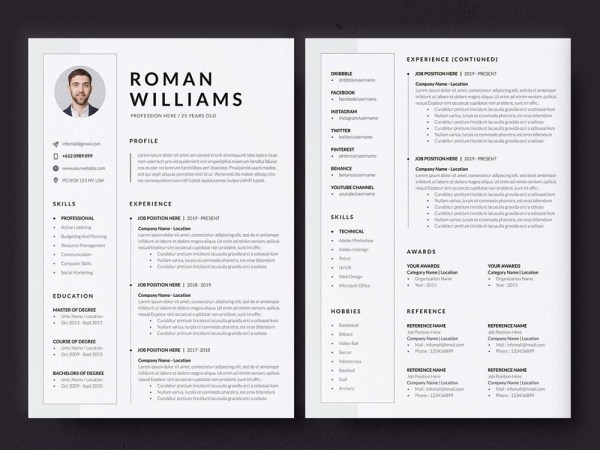 Free Three Pages Resume Template