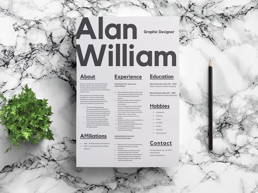 Free Typographer Resume Template