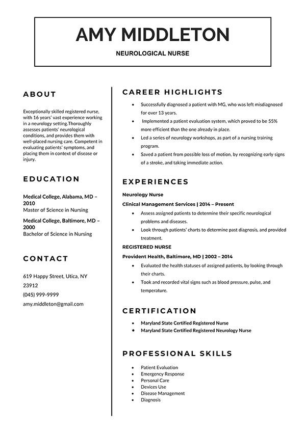 Nurse Curriculum Vitae