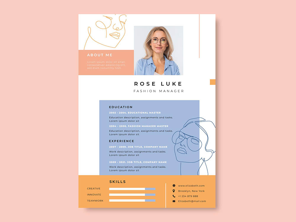 Free Colorful Fashion Resume Template