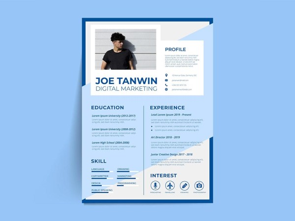 Free Creative Blue Resume Template