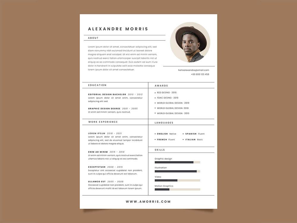 Free Editorial CV Resume Template