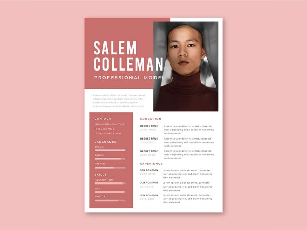 Free Modeling Resume Template