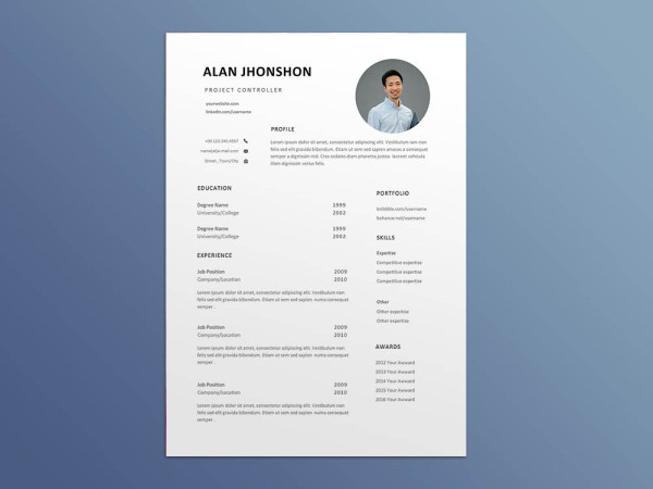 Free Project Controller Resume Template