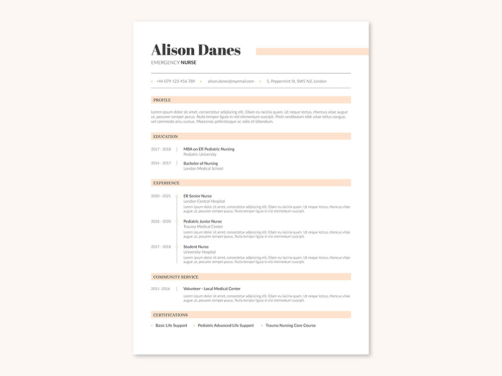 Free Simple Nurse Resume Template