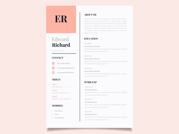 Free Vector Chronological Resume Template