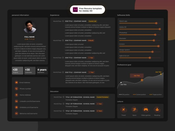 Free Horizontal Adobe XD Resume Template