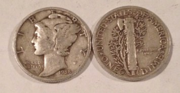 Mercury dime front and back