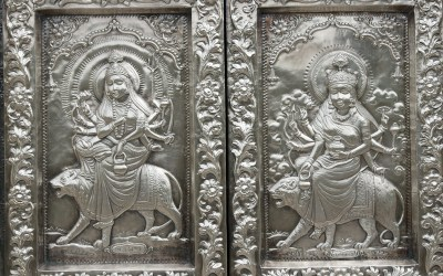 India Durgiana Hindu Temple. Detail of ornate silver panels