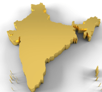 map of india in gold