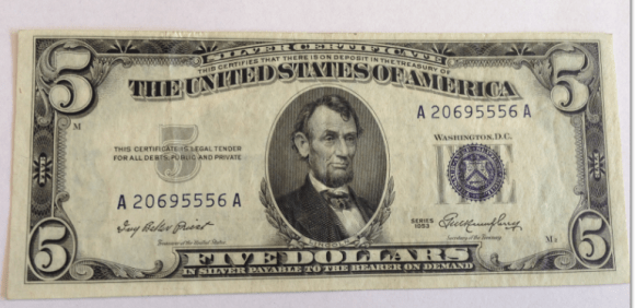 $5 US silver certificate dated 1953 photo