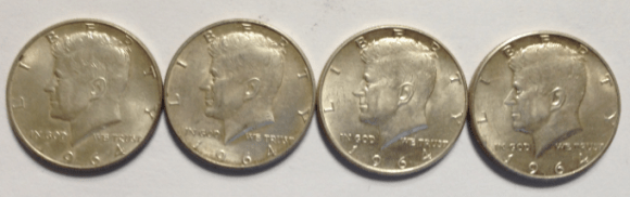 Kennedy half dollars that are 90% silver