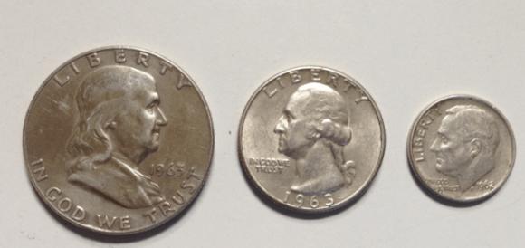 1963 silver half dollar quarter and 1962 dime