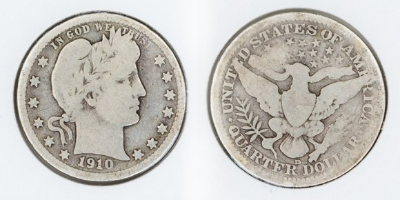 25 cent Barber silver quarter