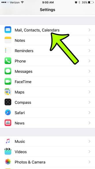 open mail, contacts, calendars menu