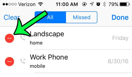 red circle to the left of the call