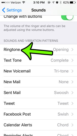 select the ringtone option