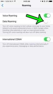 how to turn off data roaming on an iphone 7