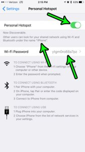how to use the personal hotspot on the iphone 7