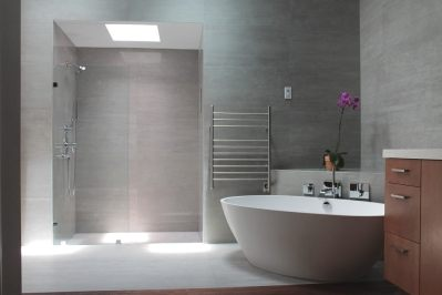 Modern industrial master bathroom