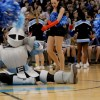 The Lancer dances and poses on the floor at the beginning of the pep assembly.  Photo by McKenzie Swanson