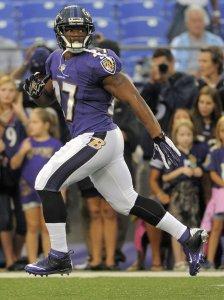 Rice playing in preseason game for Baltimore Ravens,  Aug. 23, 2014.