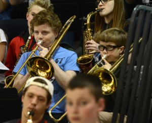 Elementary School Band Kids Perform at Basketball Game