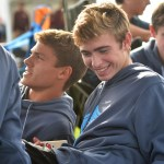 Junior Sam McKnight and teammates prepare for the approaching race. Photo by Libby Wilson
