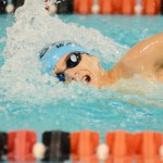 Freshman Wyatt Morse swims the 500 freestyle. Photo by Luke Hoffman