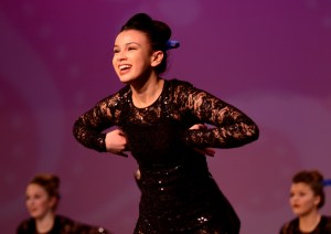 Sophomore, and JV captain, Maggie Mulligan performs in the JV jazz dance. Photo by Maddie Smiley