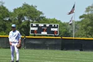 Freshman second baseman Robert Moore prepares for the pitch in the top of the second inning.