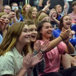 Juniors Isabelle Cunningham, Savannah Worthington and Grace Chisholm clap as nominations are announced. Photo by Katherine McGinness