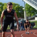 Freshman Miles Patterson prepares to start his 400 meter run. Photo by Ty Browning